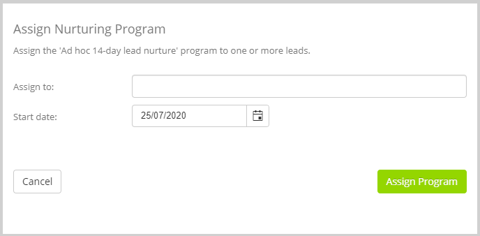 Bulk assign a nurturing program