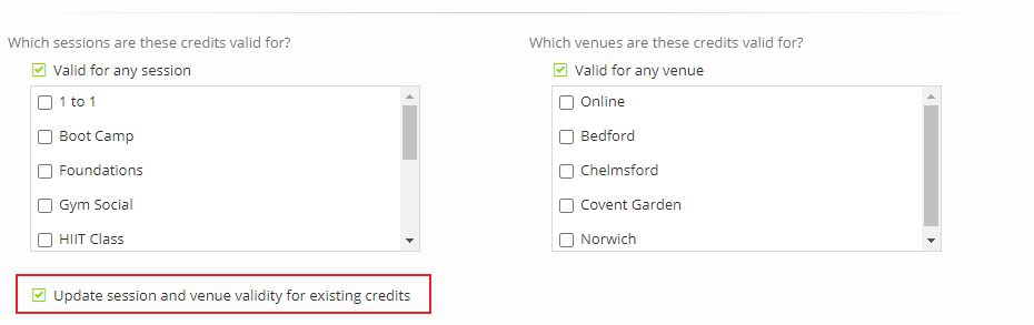 Updating sessions and venues in credit packs