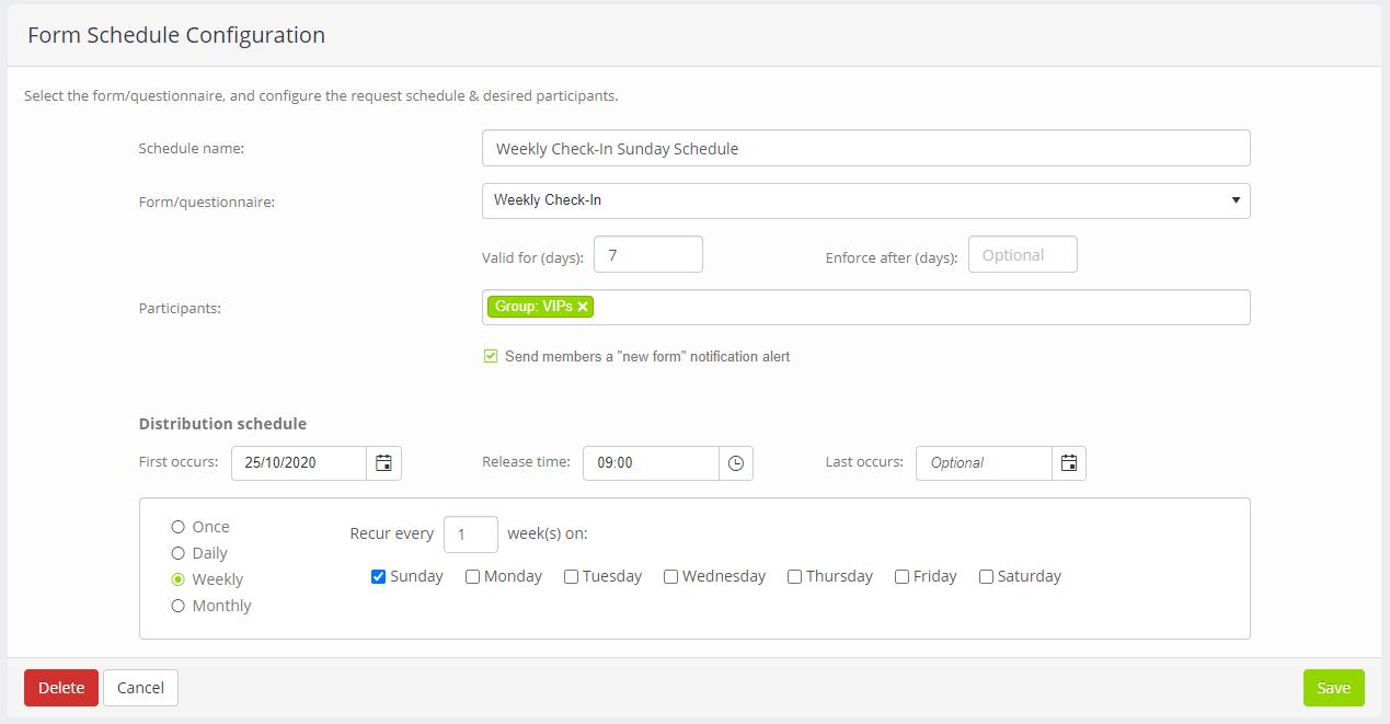 Form and Questionnaire schedule configuration