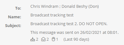 Scheduled broadcast engagement statistics